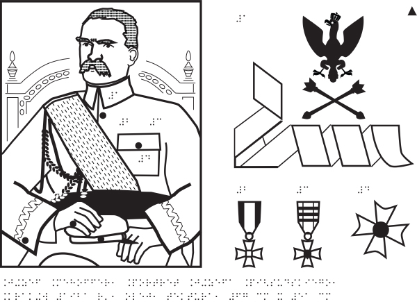 Józef Piłsudski portrait - tactile adaptation